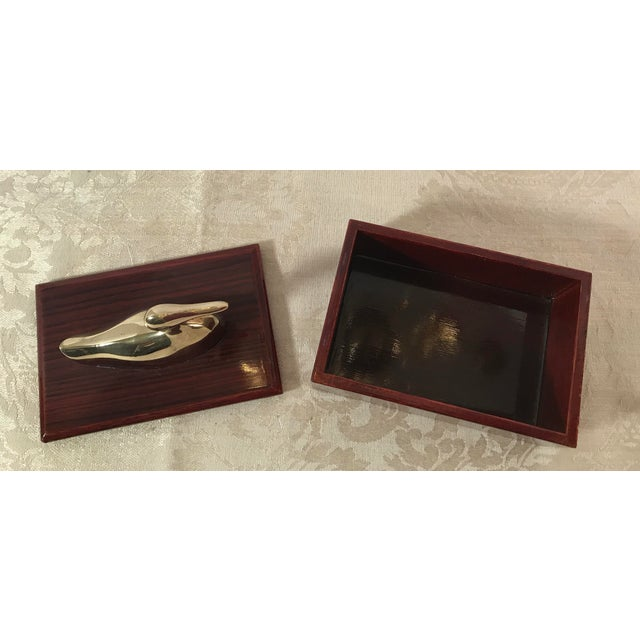 Mid-Century Modern Brass & Wood Duck Trinket Box For Sale In Dallas - Image 6 of 8