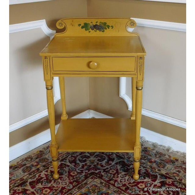This is a great little antique late 19th Century painted Sheraton style, single drawer, country painted & stenciled...