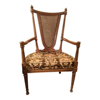 Vintage Mid-Century Italian Neoclassical Wicker Back Accent Chair For Sale