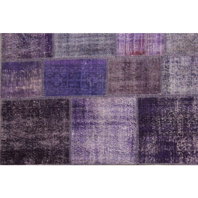 "Arts & Crafts Hand Knotted Purple Patchwork Rug by Aara Rugs Inc. - 10'0"" X 8'0"" For Sale - Image 3 of 3"