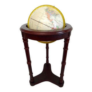 1980s Fucashun 12 Inch Roosevelt World Globe With Wooden Stand For Sale