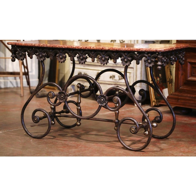 French Polished Iron and Brass Pastry Table With Variegated Red Marble Top For Sale In Dallas - Image 6 of 11