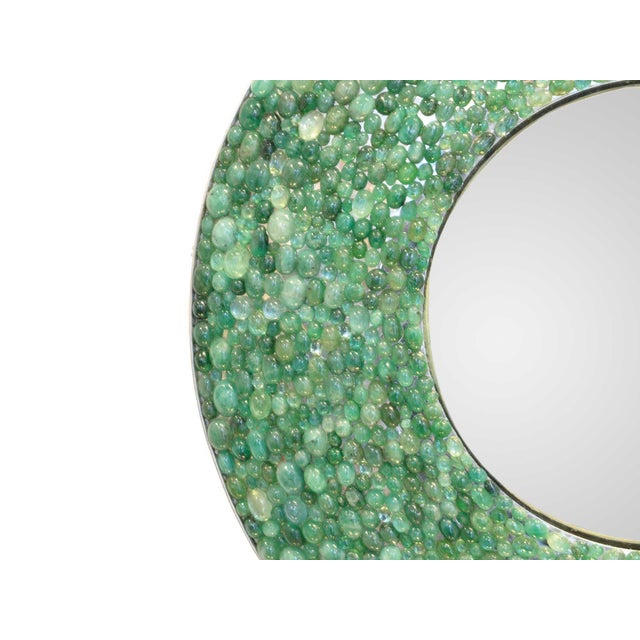 Contemporary Kam Tin - Emerald Round Mirror , France, 2017 For Sale - Image 3 of 5