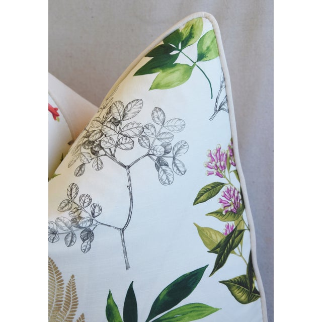 "Early 21st Century Botanical Floral Fern Linen & Velvet Feather/Down Pillow 24"" Square For Sale - Image 5 of 8"