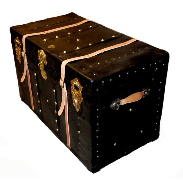 Traditional 1930s Vintage Black Metal Trunk For Sale - Image 3 of 5
