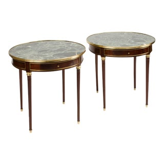 Mahogany and Brass Gueridon Tables, Directoire style, circa 1940 - a Pair For Sale