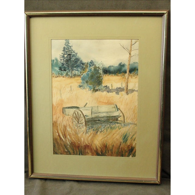 Vintage Watercolor on Paper Landscape of Hay Wagon This is a very nice vintage watercolor painting on paper of a hay wagon...