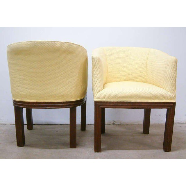 Mid-Century Modern Circa 1950 Mid-Century Upholstered Yellow Arm Chairs - Pair For Sale - Image 3 of 11