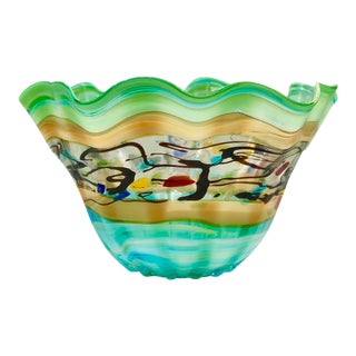 Modern Large Multi Colored Blown Art Glass Centerpiece Bowl For Sale