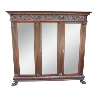 Antique Figural Carved Mahogany Bookcase For Sale