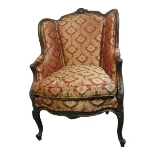 Louis XV Style Carved Walnut Fireside Chair For Sale