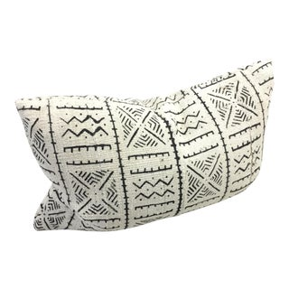 African White MudCloth Bogolan Lumbar Pillow For Sale