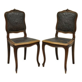 Antique French Louis XV Fancy Brown Embossed Leather Walnut Side Chair - A Pair