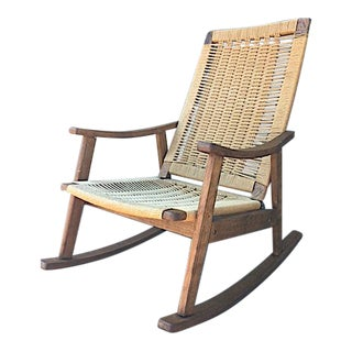 Hans Wegner Style Rope Rocking Chair For Sale