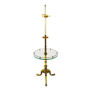 Vintage Brass and Glass Stiffel Table Floor Lamp For Sale
