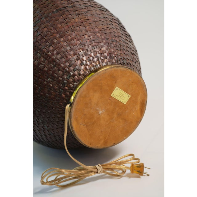 1980s Maitland-Smith Woven Copper Basket Form Table Lamp For Sale - Image 5 of 6