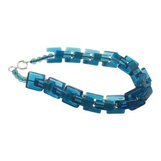 Sculptural Blue Ocean Carved Lucite Necklace For Sale