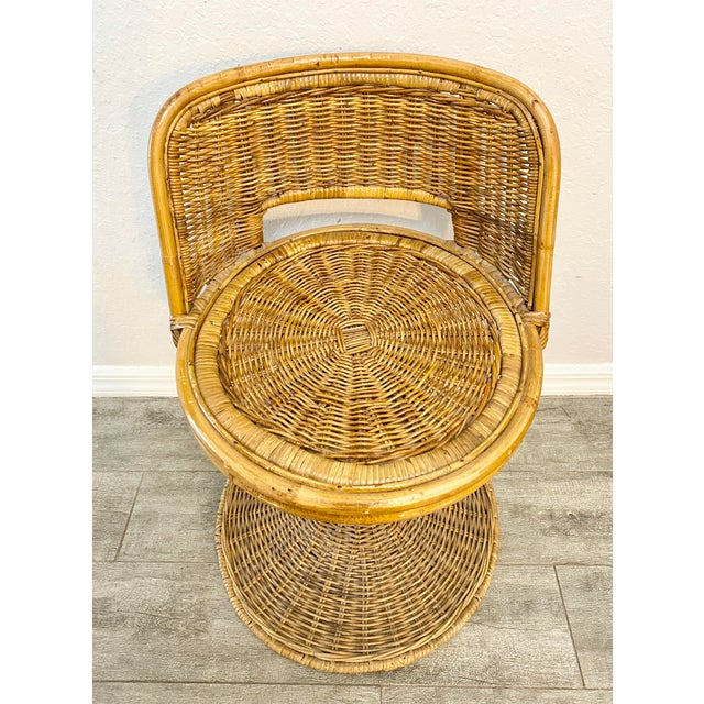 Mid Century Modern Danny Ho Fong Woven Rattan Swivel Chairs - Set of 3 For Sale In Naples, FL - Image 6 of 7