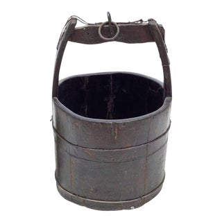 19th Century Rustic Iron Bound Wooden Well Water Bucket For Sale