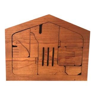 Vintage Wooden Nativity Set Puzzle For Sale