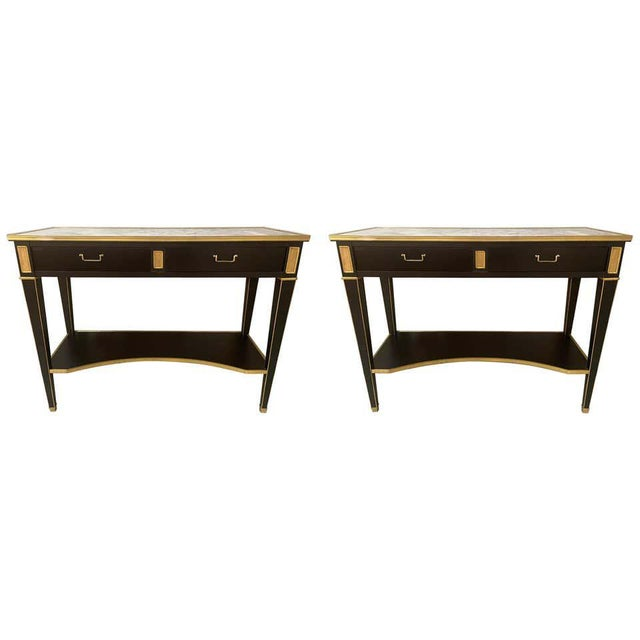 Pair of Hollywood Regency Neoclassical Ebony Console Tables Manner Jansen For Sale - Image 13 of 13