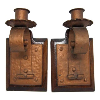 Arts & Crafts Candle Stick Holders - A Pair For Sale