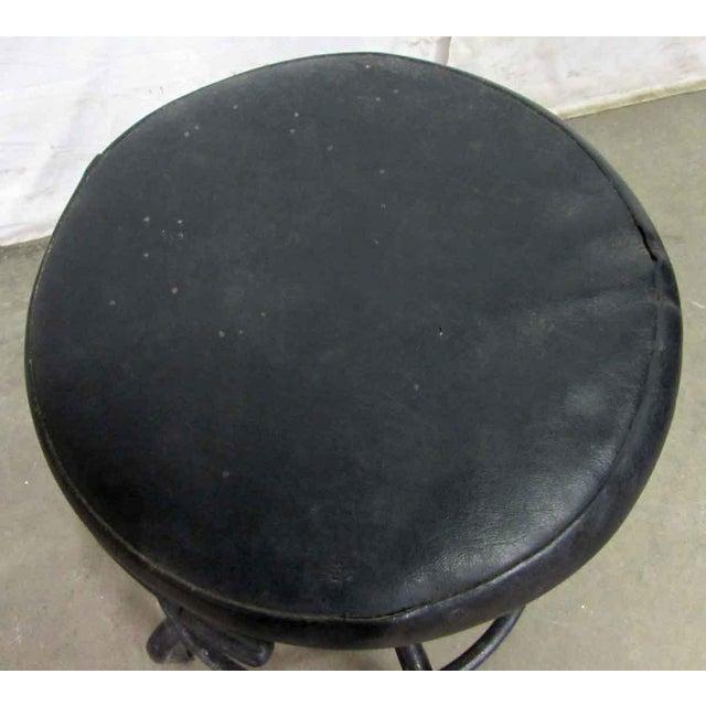 Vintage Black Cushioned Adjustable Stool For Sale - Image 4 of 7