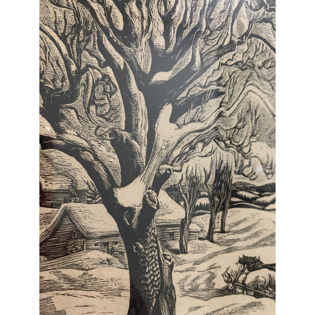 "Woodcut by Eloise Howard ""Opening the Road"" 1936 For Sale In Miami - Image 6 of 11"