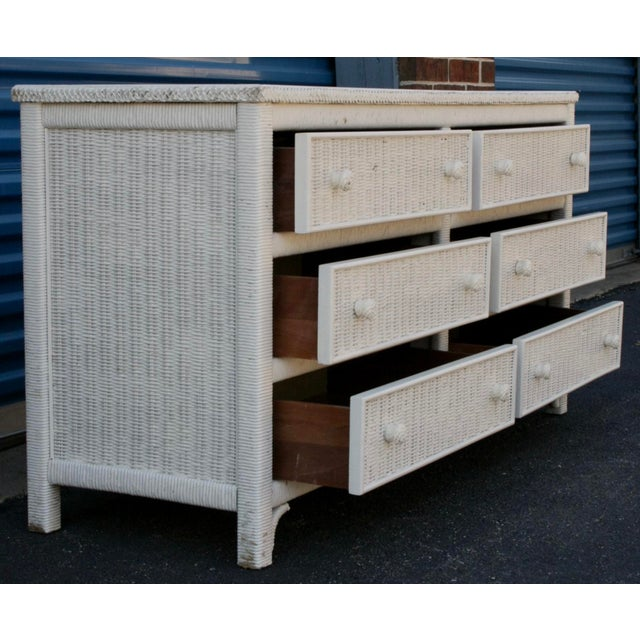 Henry Link White Wicker 6-Drawer Double Dresser - Image 6 of 11