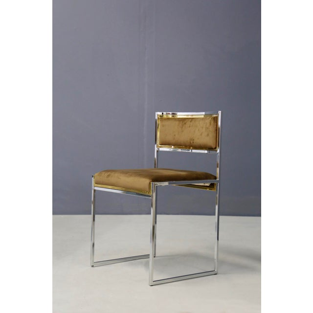 Mid-Century Modern Willy Rizzo Set of Six MidCentury Chair in Brass and Chamois, 1960s For Sale - Image 3 of 9