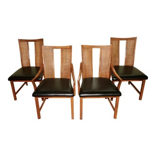 Mid-Century Modern American Furnture Company of Martinsville Cane Back Dining Chairs - Set of 4 For Sale