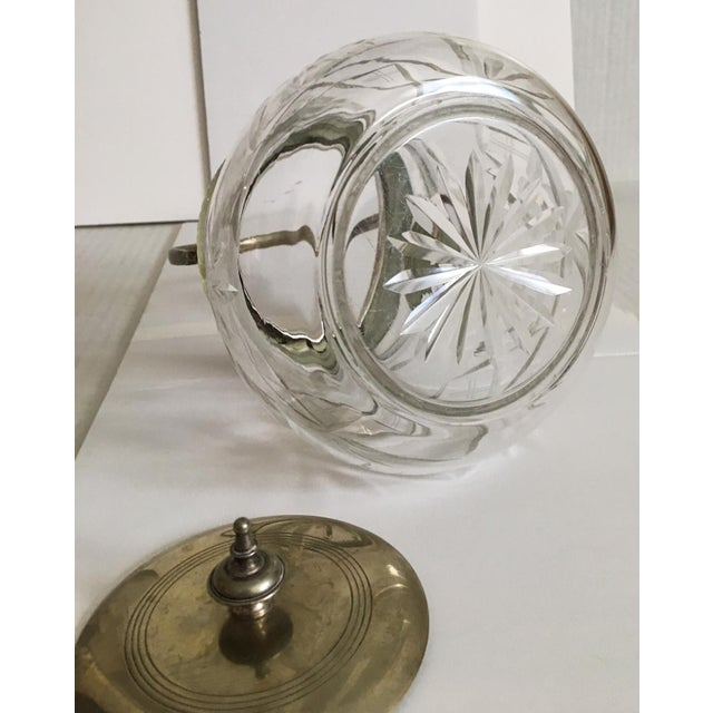 1930s Slack and Barlow English Cut-Glass and Silver Biscuit Jar For Sale - Image 9 of 11