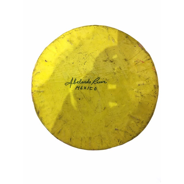Yellow Vintage Mid-Century Paper Mache Can / Vessel For Sale - Image 8 of 9