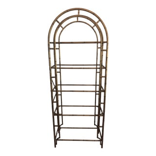 Metal Faux Bamboo Etagere For Sale