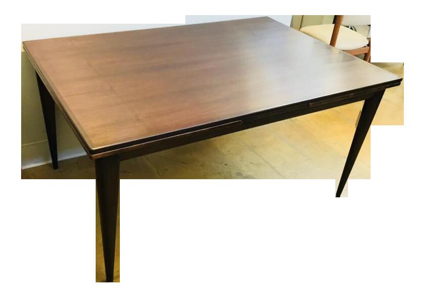Danish Modern Rosewood Draw Leaf Dining Table