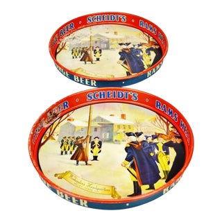2 Vintage Scheidts Beer Valley Forge Rams Head Ale Beer Trays Metal Bar Signs For Sale