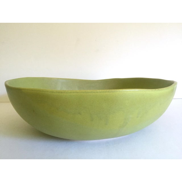 Alex Marshall Studios Pottery Vintage Organic Modernist Extra Large Chartreuse Ceramic Serving Bowl For Sale In Kansas City - Image 6 of 13