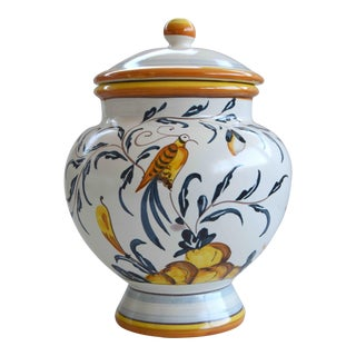 Hand Painted Italian Ceramic Jar With Bird and Lemon Tree For Sale
