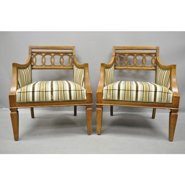 Late 20th Century Vintage Hollywood Regency French Style Carved Spiral Back Arm Chairs- A Pair For Sale - Image 10 of 10