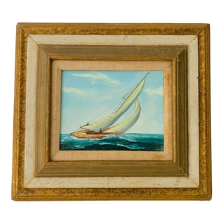 Vintage New England Racing Sailboat Oil on Canvas Painting Signed and Framed For Sale
