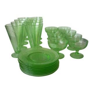 1930s Depression Green Glass Dessert Set -24 Pieces For Sale