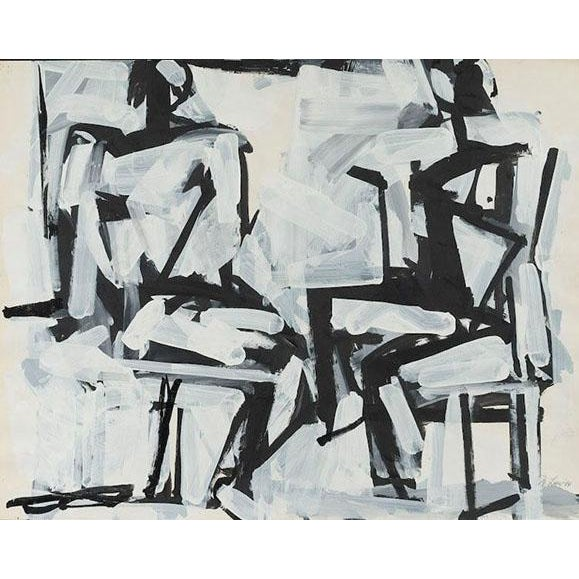 "Abstract ""Two Sitting Figures"" Painting by Michael Loew, 1984 For Sale - Image 3 of 3"