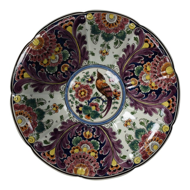 Vintage Delft Flower Parrot Large Bowl For Sale