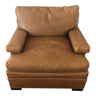 Lee Industries Camel Leather Club Chair For Sale