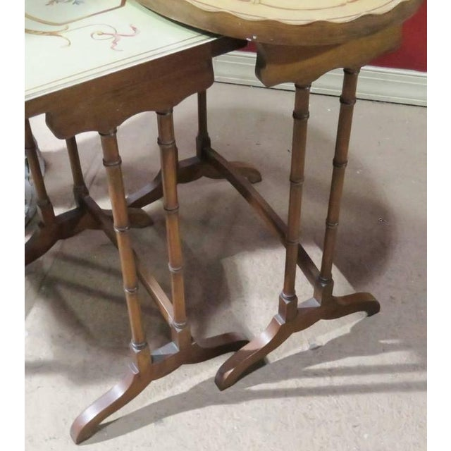 French Three French Style Paint Decorated Nesting Tables For Sale - Image 3 of 5