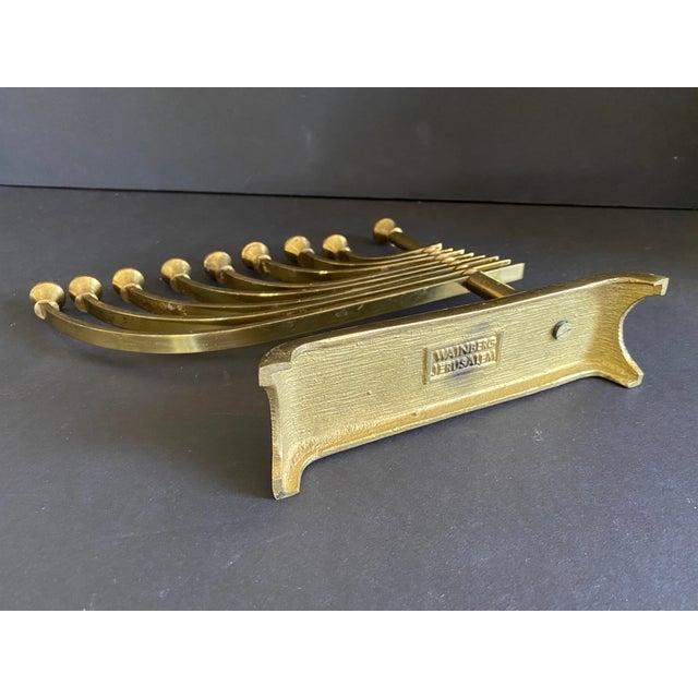1960s Mid-Century Modern Brass Menorah by Wainberg of Jersusalem For Sale - Image 4 of 6