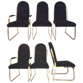 Chromcraft Dynasty Velvet Brass Dining Chairs