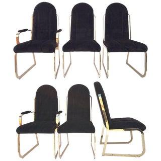Chromcraft Dynasty Velvet Brass Dining Chairs For Sale