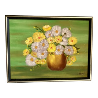 Vintage Cheerful Bold Floral Painting For Sale