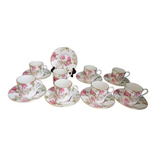 Aynsley Elizabeth Rose Demitasse 17-Piece Cups & Saucers - Servings of 8